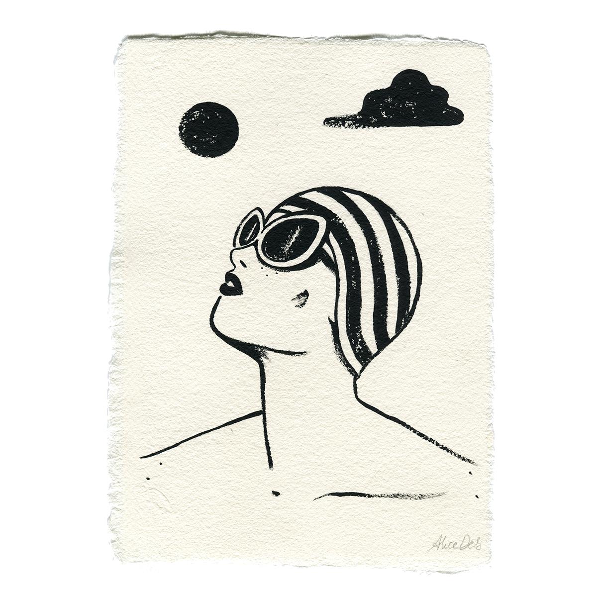 Inktober – Le Bonnet de Bain – Alice Des