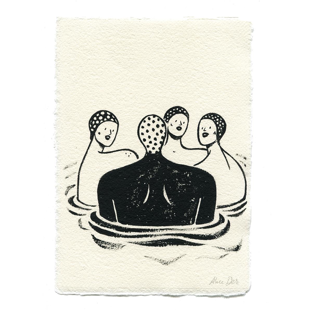 Inktober – Les Nageuses – Alice Des