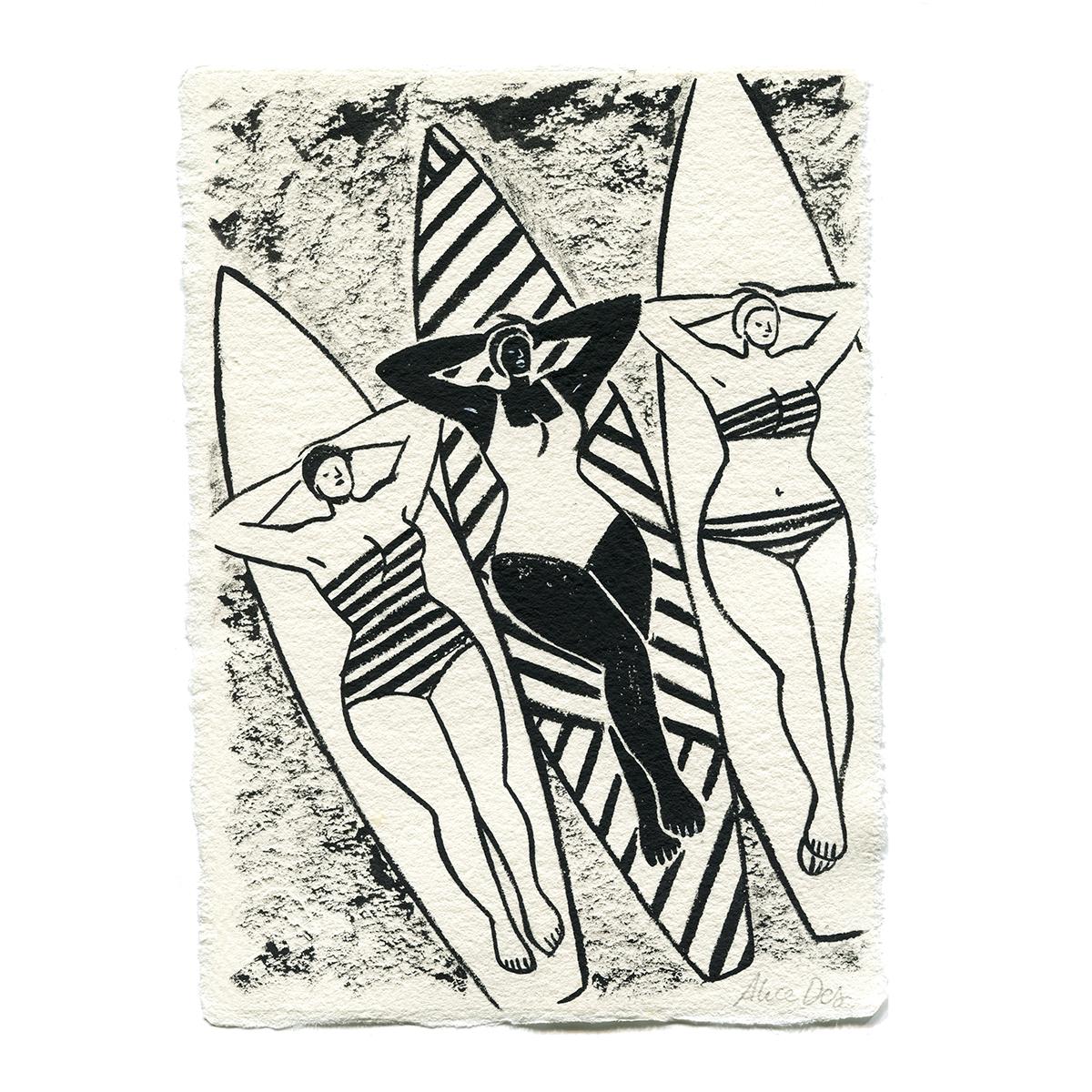 Inktober – Les Trois Surfeuses – Alice Des