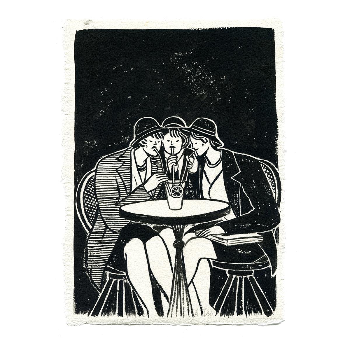 Inktober – Les Copines au Cafe – Alice Des