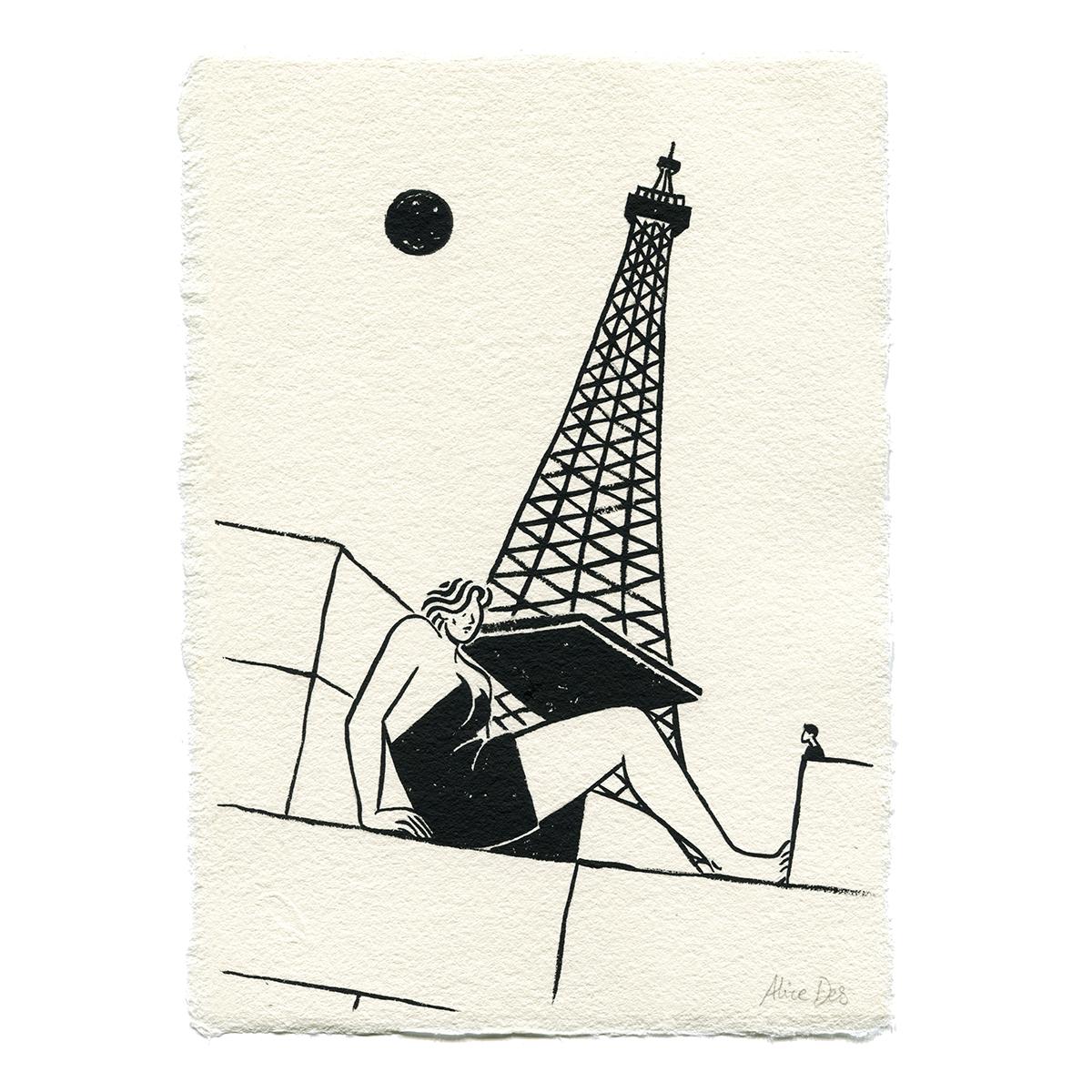 Inktober – La Femme et la Tour Eiffel – Alice Des