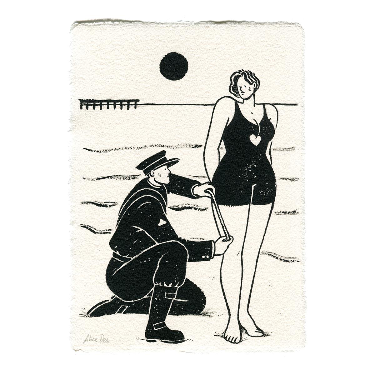 Inktober – Le Policier et le Maillot de bain – Alice Des